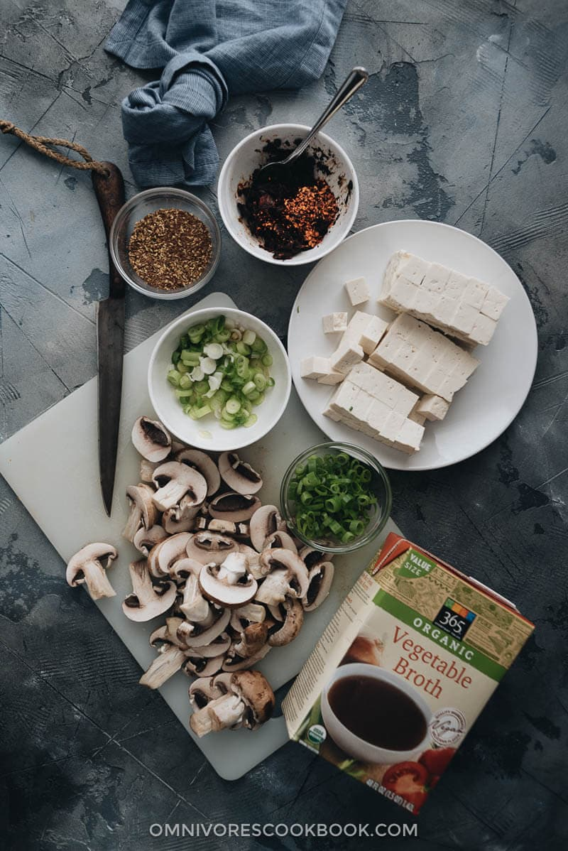 Ingredients for making vegetarian mapo tofu