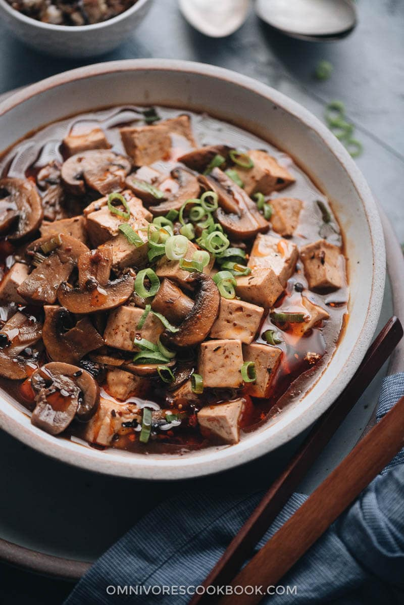 Vegetarian mapo tofu close up