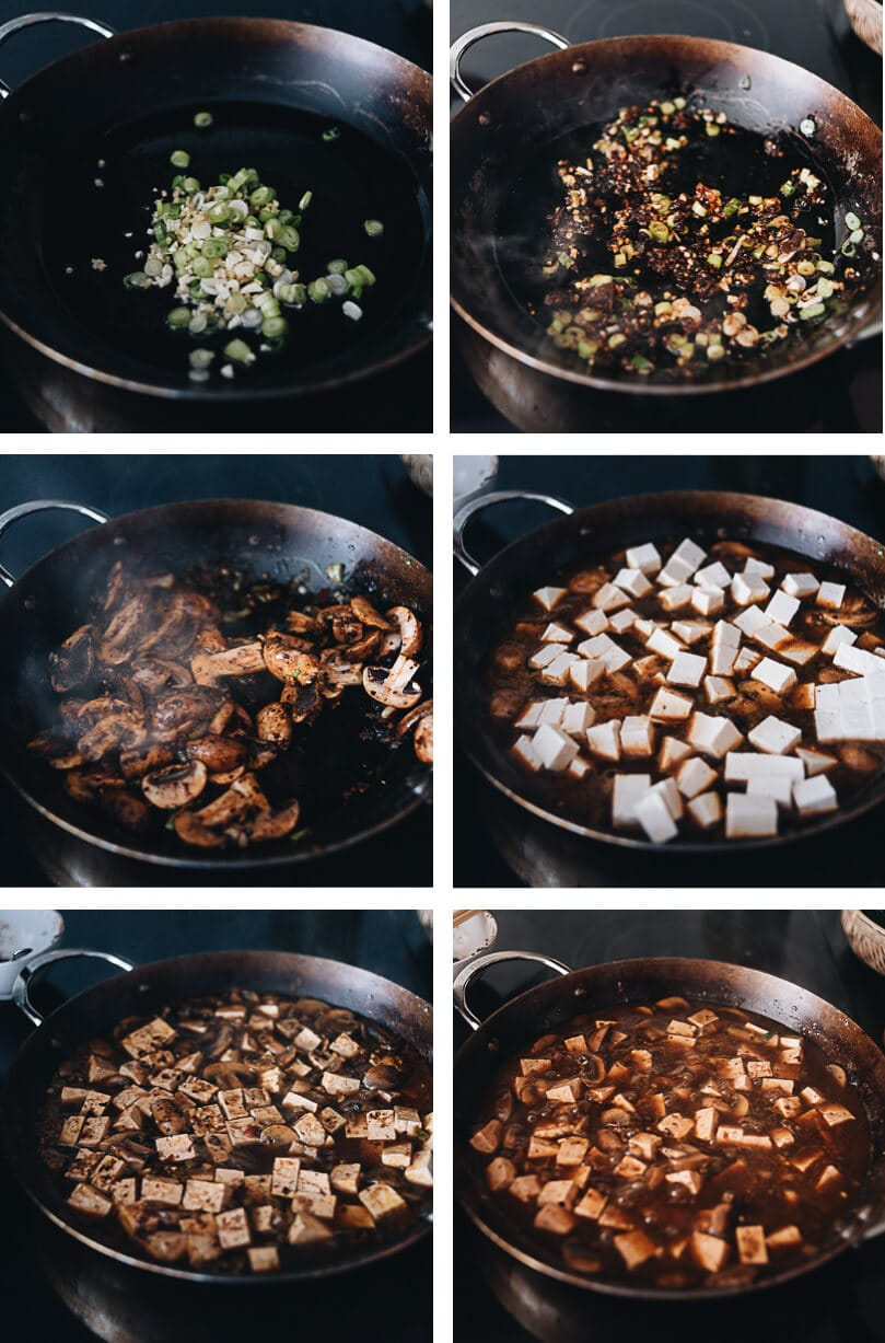 Vegetarian mapo tofu step by step pictures