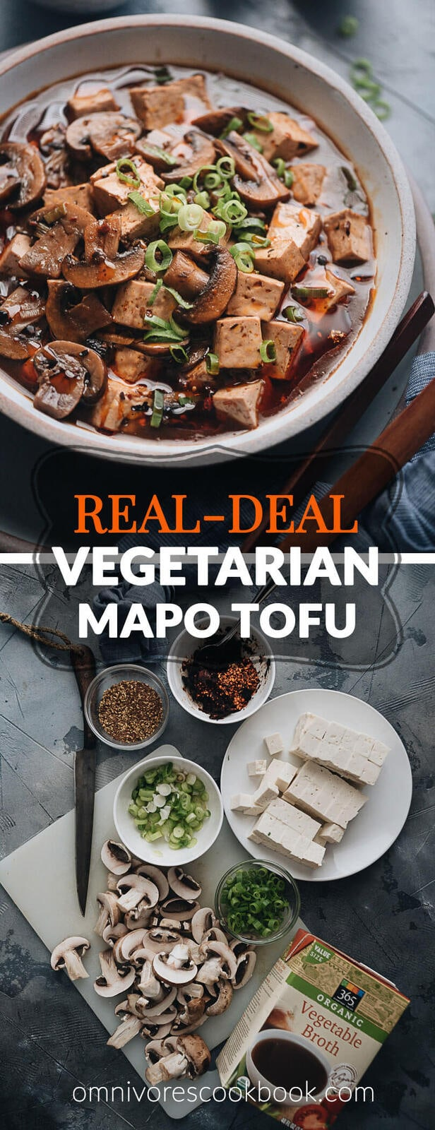 Vegetarian mapo tofu - So easy to make and irresistibly delicious. The tender tofu and mushrooms are simmered in a rich sauce that's bursting with flavor. If you want the authentic Chinese restaurant experience, look no further! #vegan #recipe #healthy