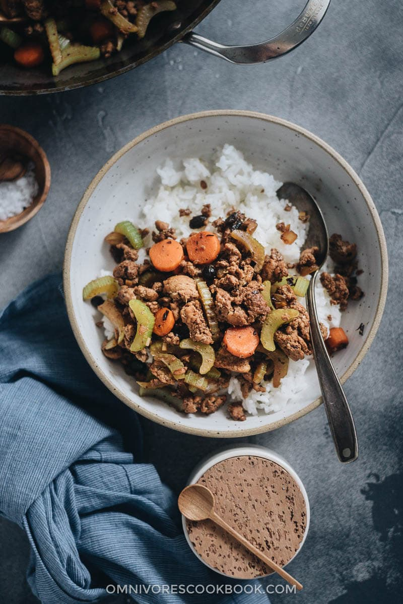 Ground beef stir fry with celery served over steamed rice