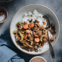 Ground Beef Stir Fry with Celery - A savory beef dish that hits all the right notes and can be on your table in less than 30 minutes. {Gluten-Free adaptable}