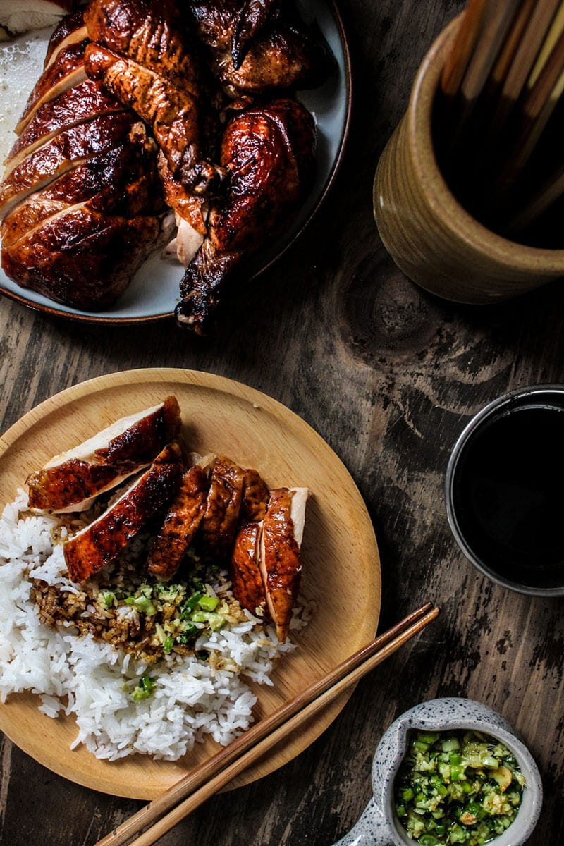 Sliced oven roasted Peking chicken served on steamed rice