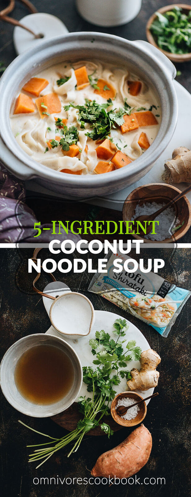 5-Ingredient Coconut Noodle Soup - A super hearty, delicious, and healthy noodle soup that requires just five ingredients and 10 minutes to make. Sound magical enough? {Vegetarian, Gluten-Free}