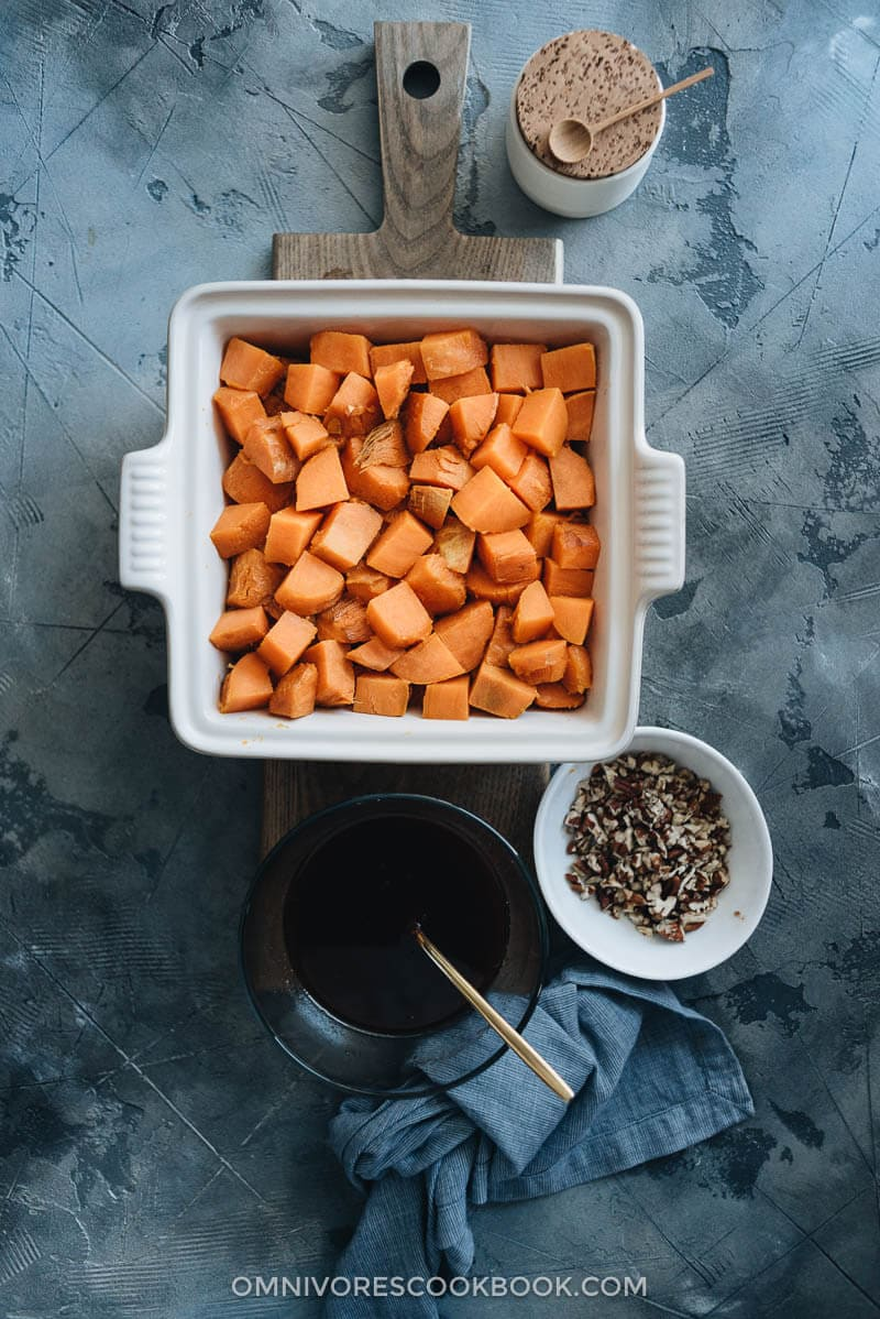 Red currant miso glazed sweet potato casserole cooking steps