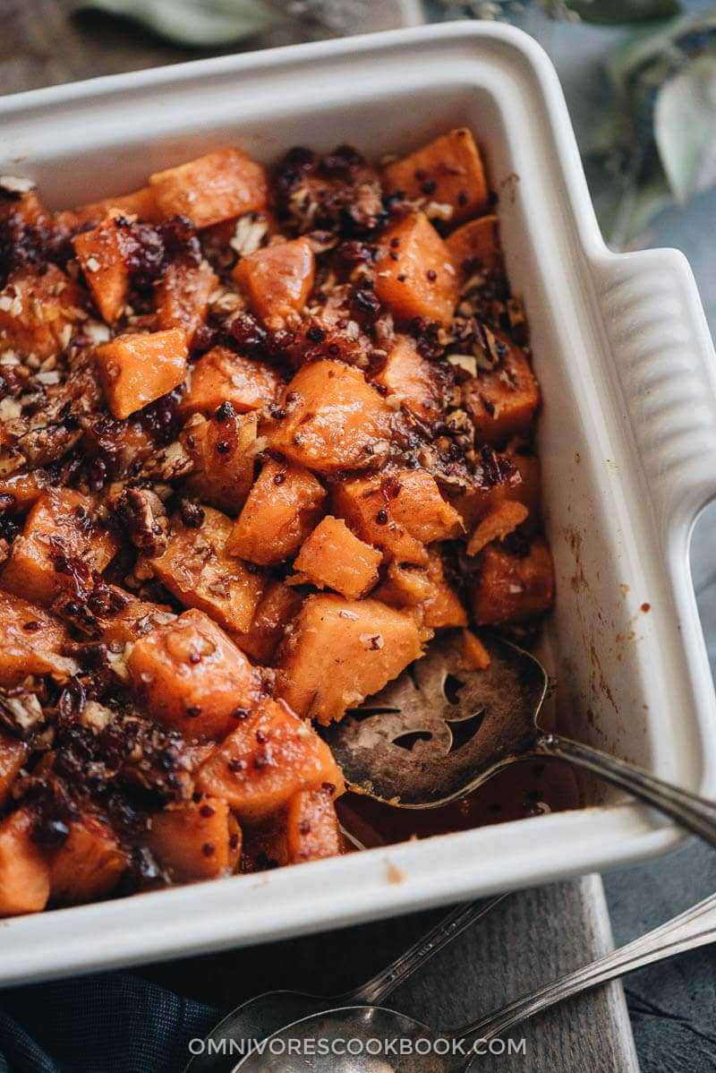 Red currant miso glazed sweet potato casserole close up