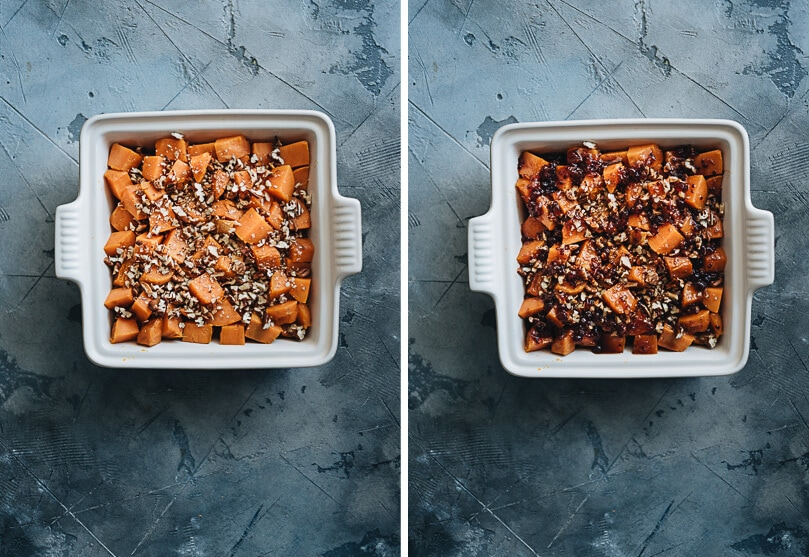 Red currant miso glazed sweet potato casserole cooking process