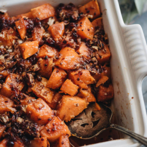 Red Currant Miso Glazed Sweet Potato Casserole - Integrating some Asian elements to make your hearty sweet potato casserole stand out on the Thanksgiving dinner table. #vegetarian #vegan #ad #BEAKITCHENHERO