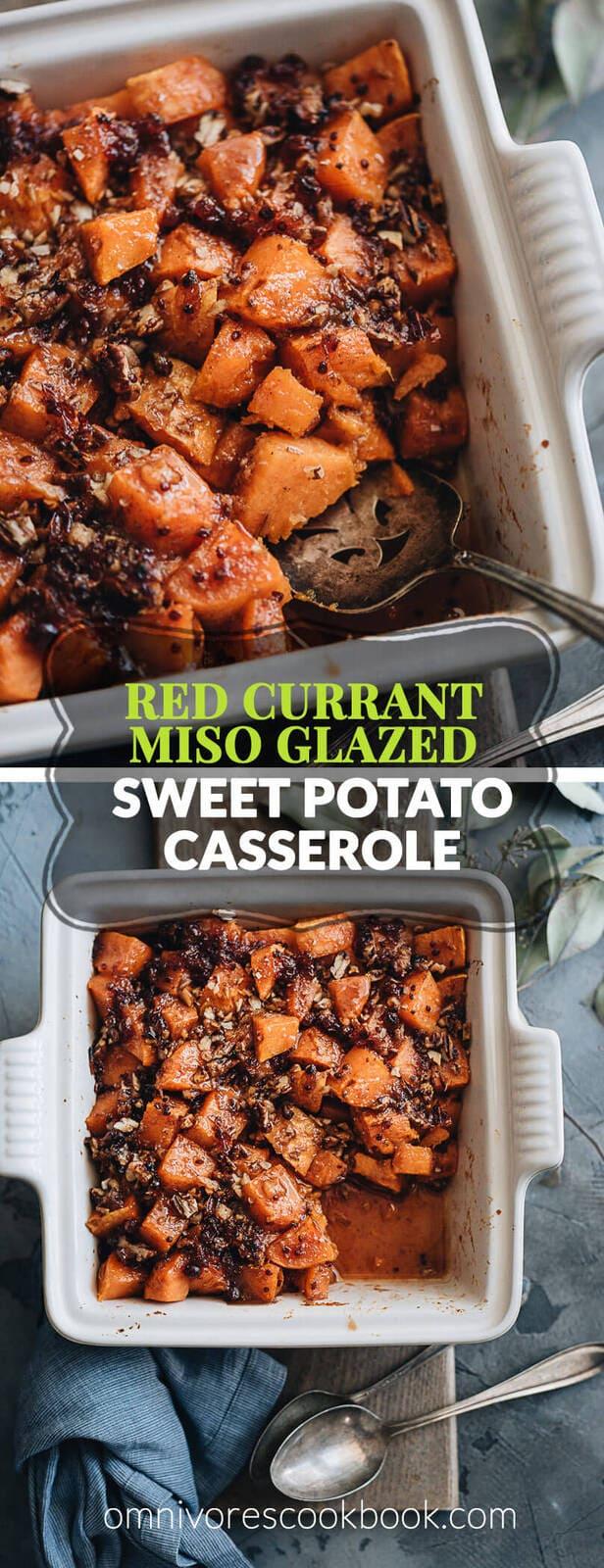 Red Currant Miso Glazed Sweet Potato Casserole - Integrating some Asian elements to make your hearty sweet potato casserole stand out on the Thanksgiving dinner table. #vegetarian #vegan #ad #BEAKITCHENHERO
