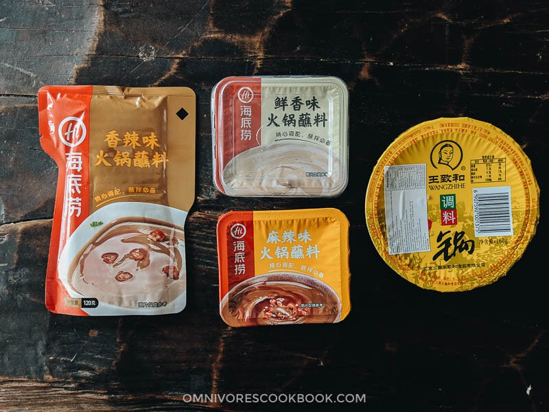 Packaged dipping sauces for Chinese hot pot