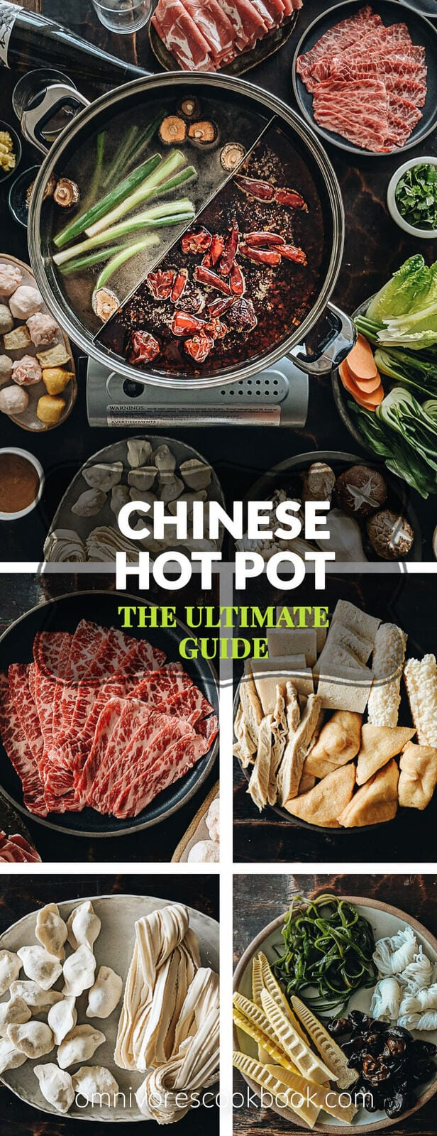 The ultimate Chinese hot pot guide that explains the different types of broth, dipping sauces, ingredients, and equipment, plus all you need to know to host a successful hot pot party. #ChineseNewYear
