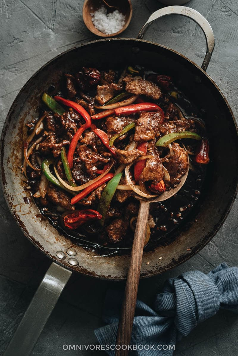 Szechuan beef stir fry in a pan