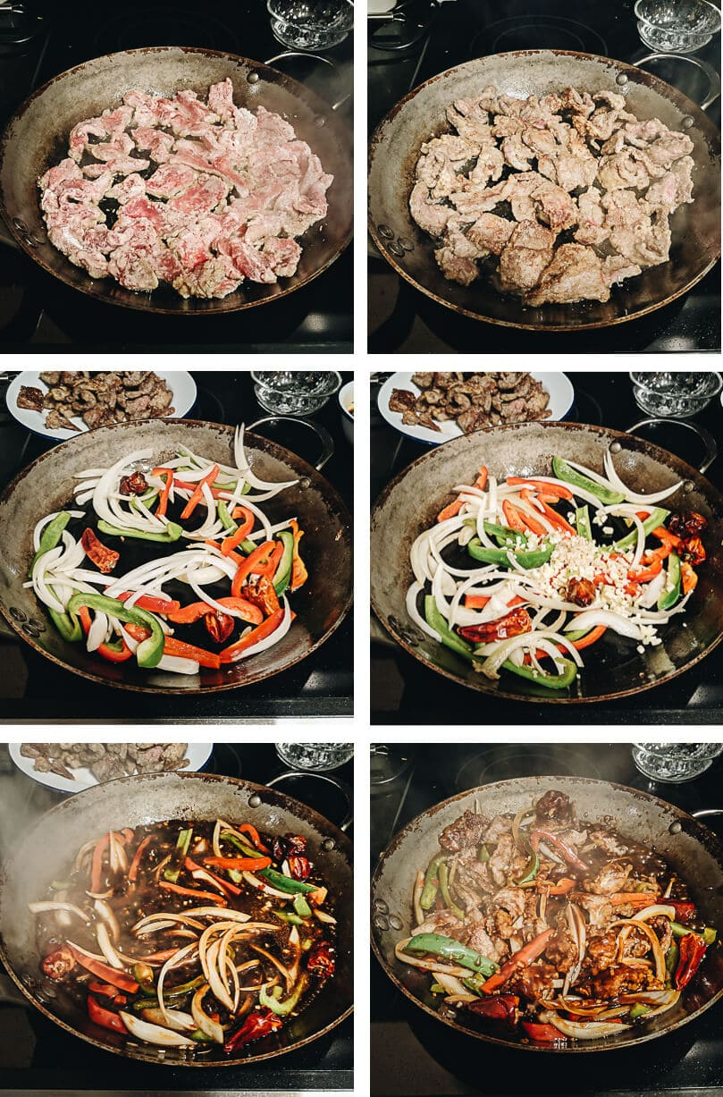 Szechuan beef stir fry cooking process