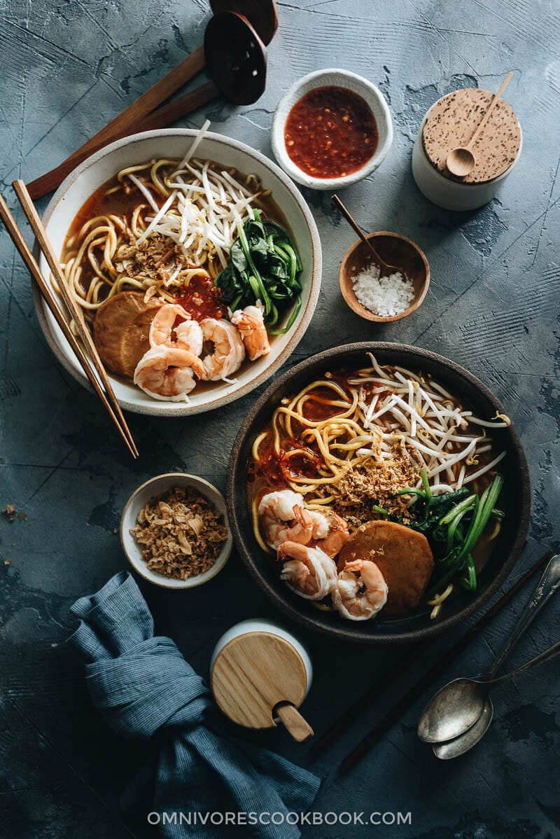Hokkien Prawn Mee Noodle Soup (Hae Mee) served in bowls, with sambal sauce and fried shallots on the side