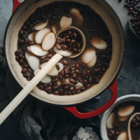 Chinese red bean soup in a pot close up