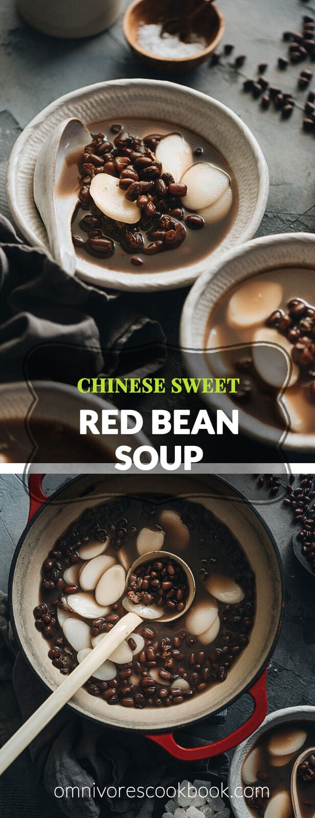 Red bean soup - This traditional Chinese dessert is slightly sweet, with the mild fragrance of the beans and chewy texture of the sticky rice cakes. It's very easy to prepare and healthy. Plus, it's vegan and gluten-free. #recipes