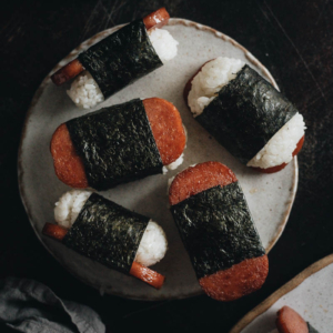 Spam musubi close up