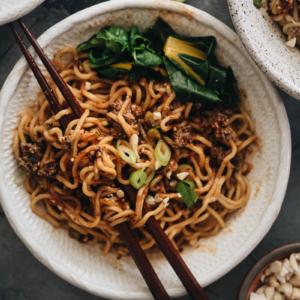 Vegan dan dan noodles close up