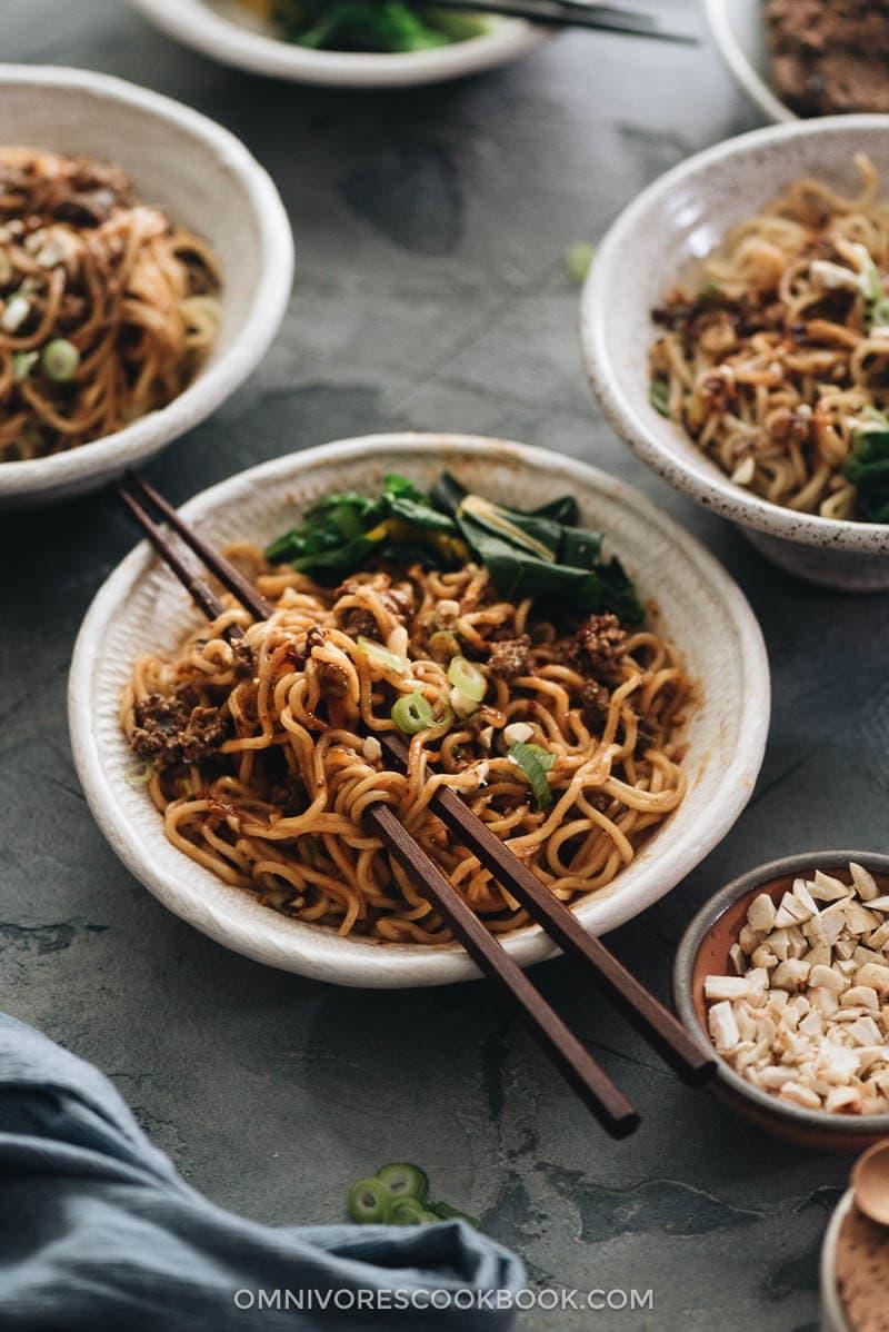 Vegan dan dan noodles mixed with sauce