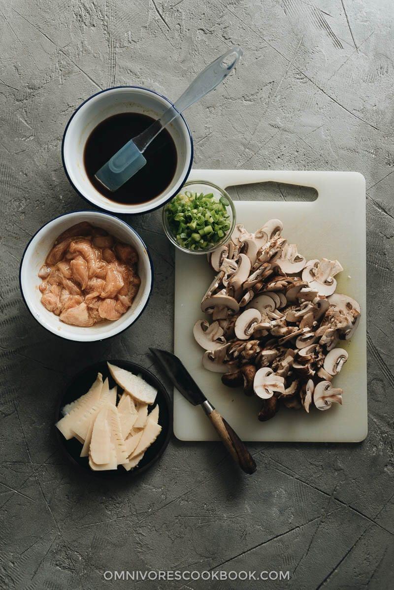 Chinese Mushroom Chicken cooking ingredients