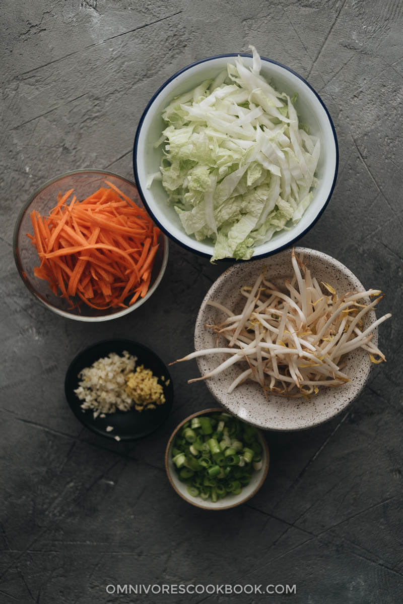 Vegetables for making Chinese egg rolls