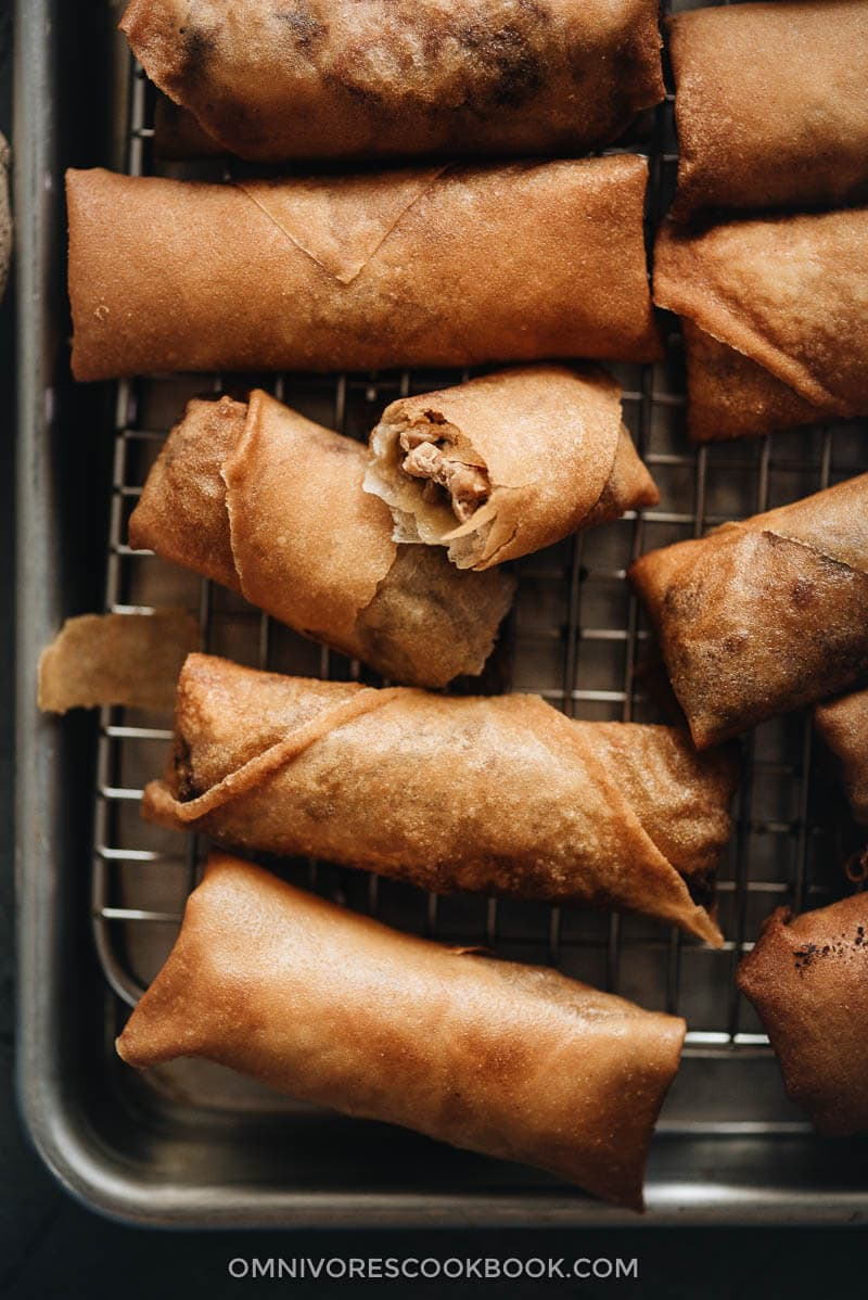 Homemade Chinese egg rolls Close up
