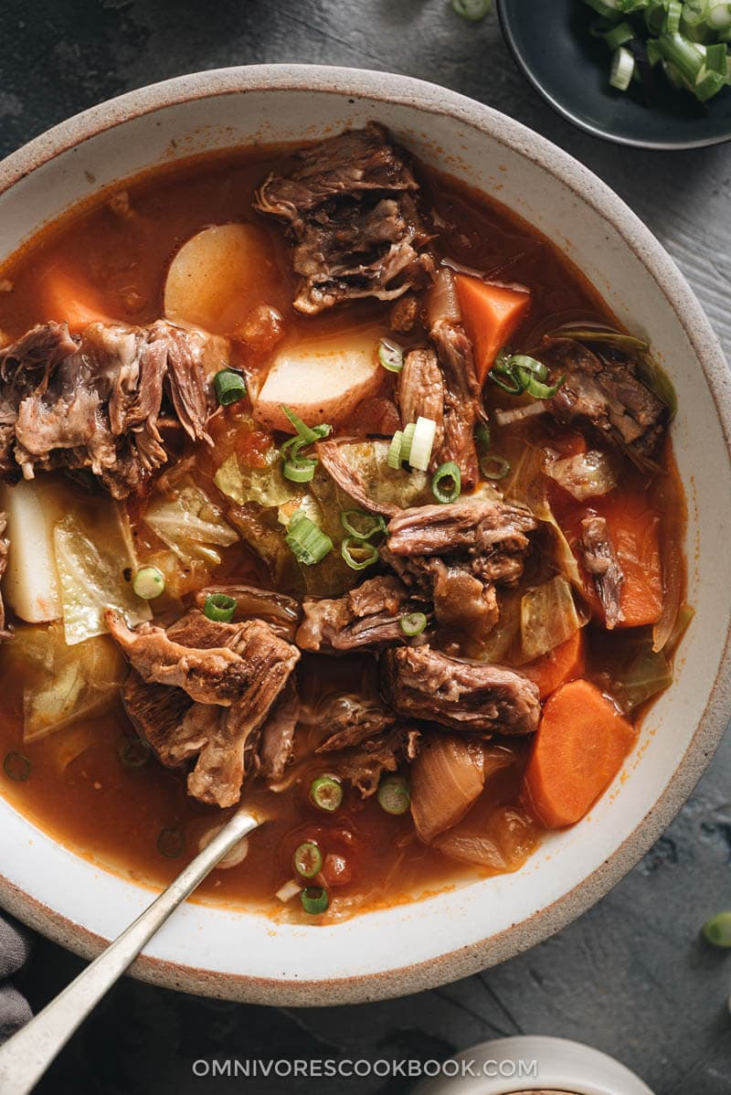 Instant Pot oxtail soup close up