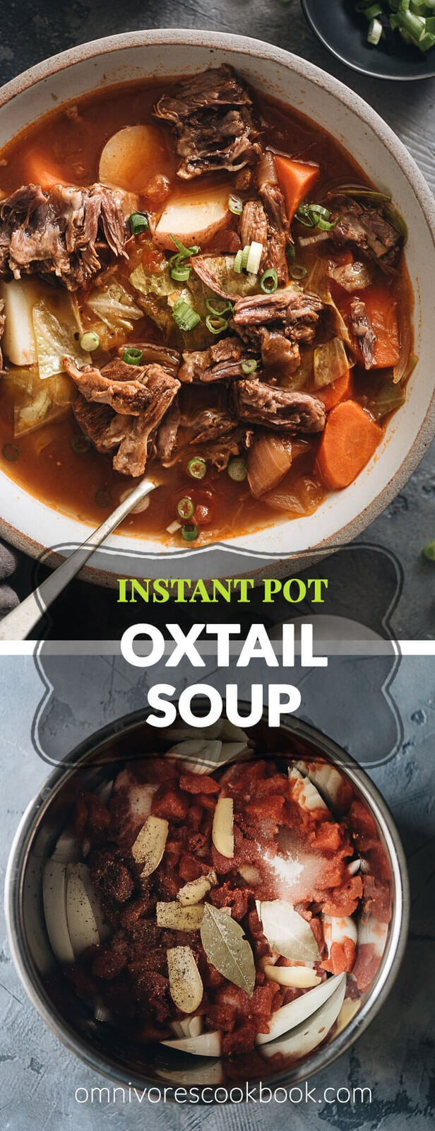 A simplified version based on my original oxtail soup recipe so you can use minimal prep and time to cook everything in one pot. No searing or par-boiling required. The oxtails will turn out soft like butter and the soup rich and hearty. Both Instant Pot and stovetop pressure cooker methods are included. {Gluten-Free}