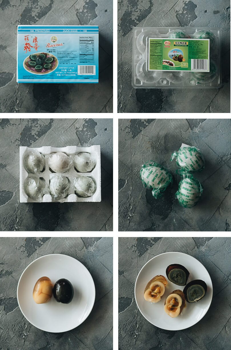 Packaged and cut century eggs