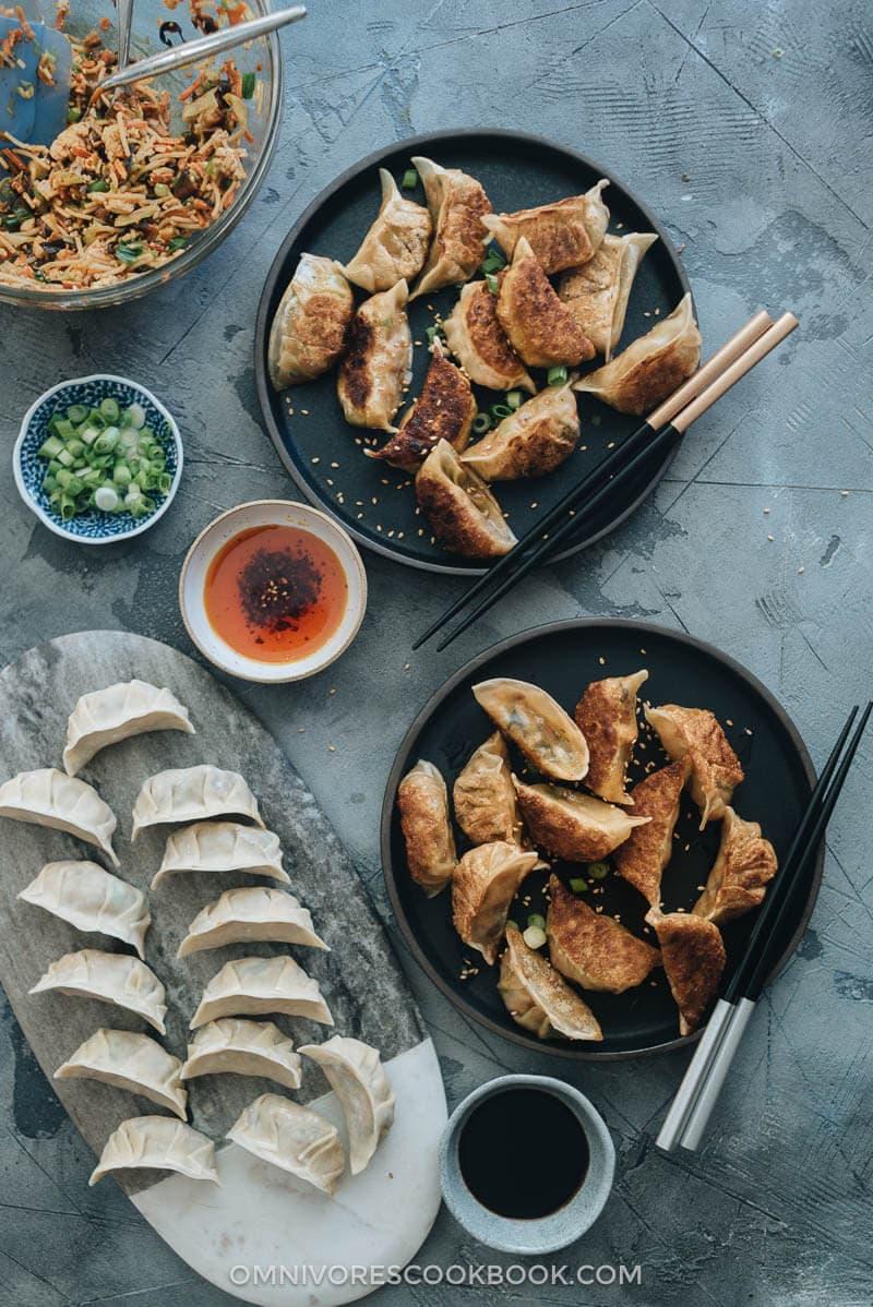 Raw and cooked homemade vegan dumplings