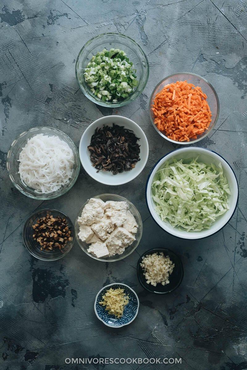 Ingredients for making vegan dumplings