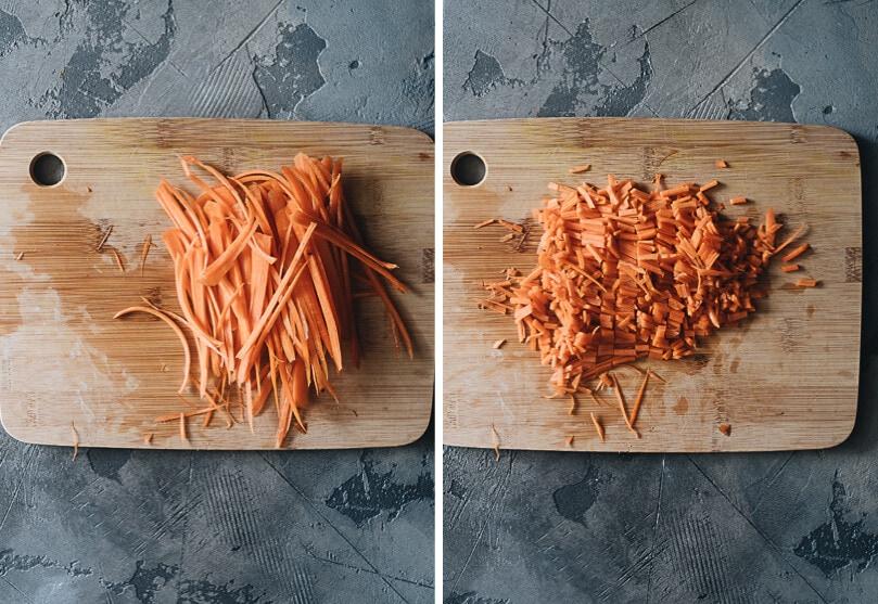 Chopping carrots for making vegan dumplings