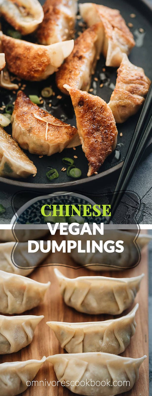 Homemade Vegan Dumplings - The dumpling filling has a well-balanced texture with veggies, tofu, and rice vermicelli. It's seasoned with plenty of aromatics, soy sauce, and just a dash of curry powder to enhance its richness. #chinese #vegetarian