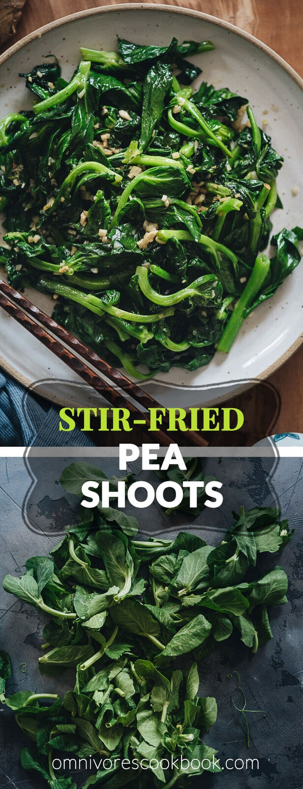 Stir-Fried Pea Shoots with Garlic - Tender crisp stir-fried pea shoots with plenty of aromatics to create a mouth-watering dish that you can't stop eating. The post includes all the notes and tips to walk you through the process step-by-step to create a restaurant-style result. {Vegan, Gluten-Free adaptable}
