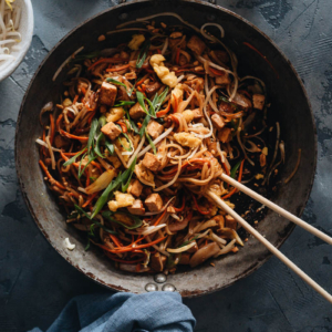 Homemade vegan Pad Thai in a pan