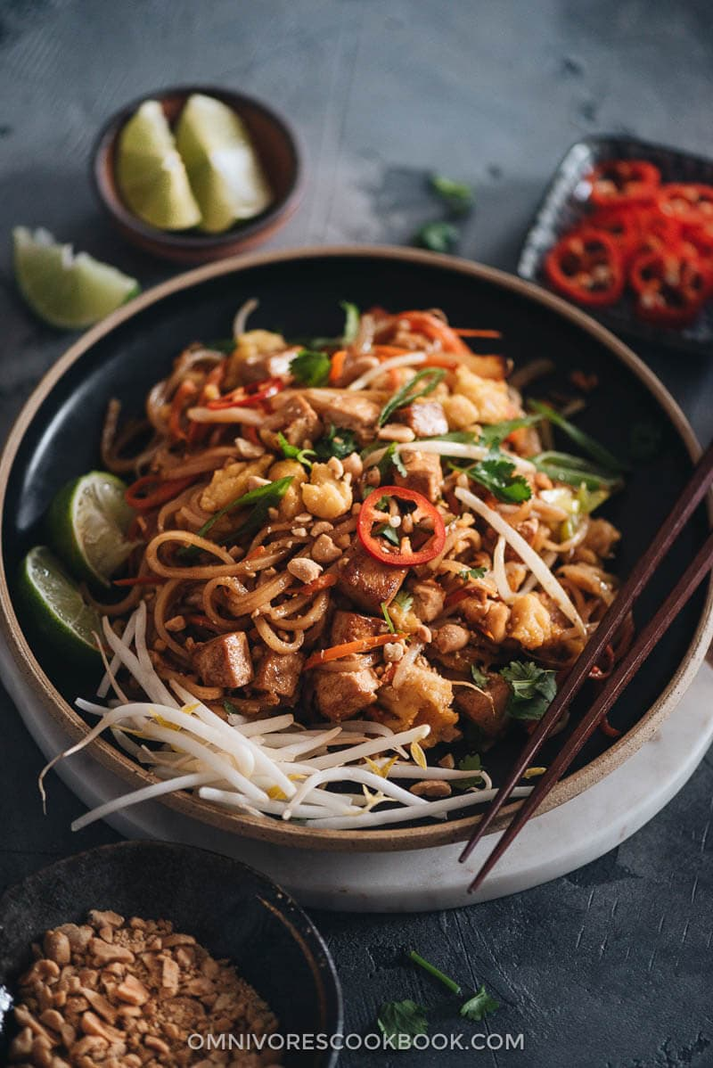 Vegan Pad Thai in a plate