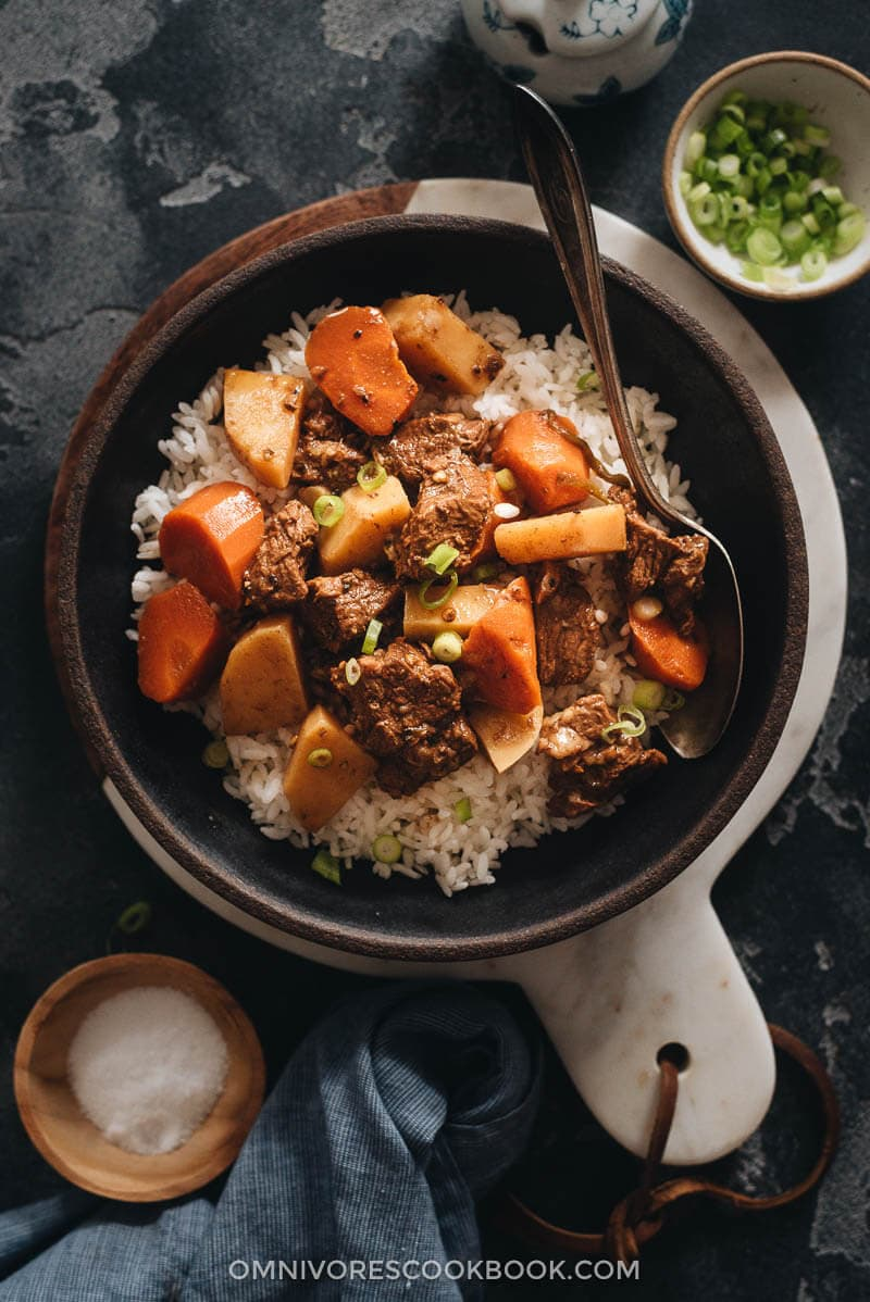 Chinese beef stew served on rice
