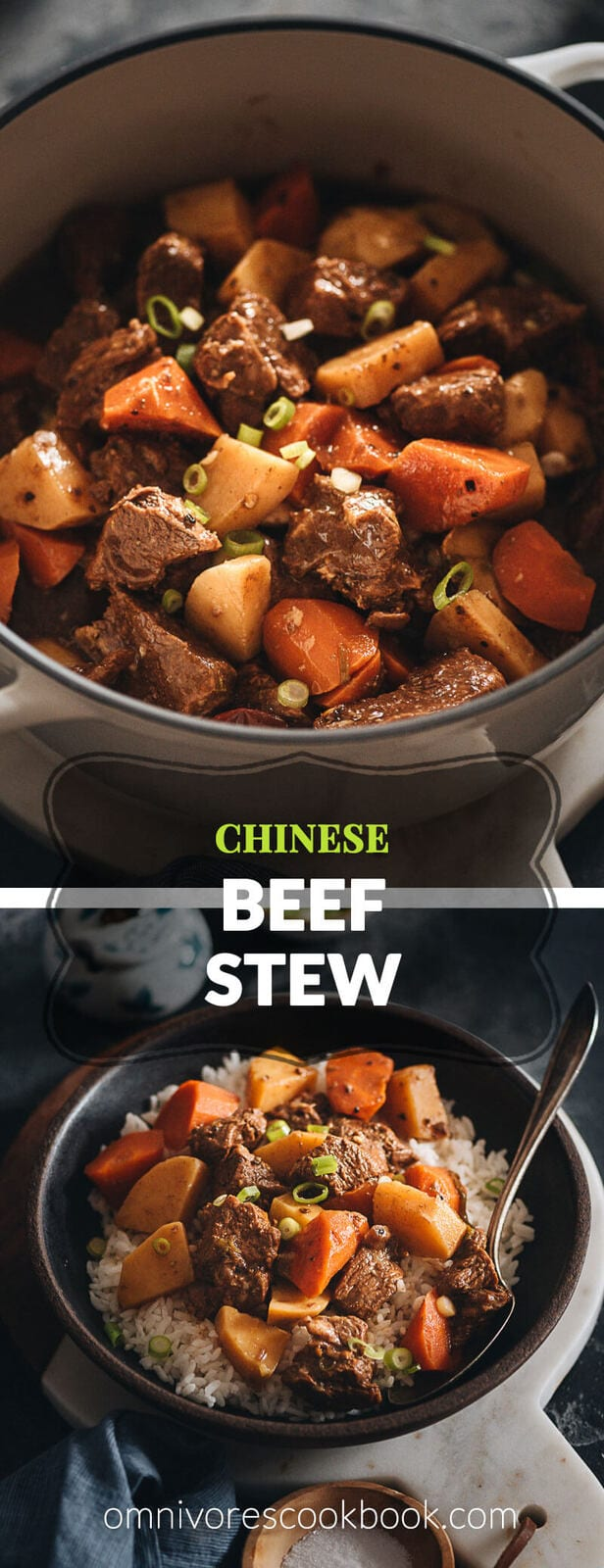 Chinese beef stew with potatoes - The beef is braised in a rich savory broth with potatoes and carrots until super tender and flavorful. An easy make-ahead recipe that requires little prep and you'll have delicious dinners for the next couple of days. Freezer and meal-prep friendly. {Gluten-Free adaptable}