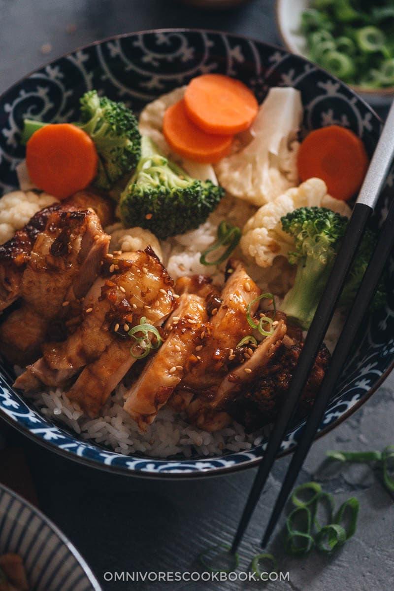 Homemade teriyaki chicken close up