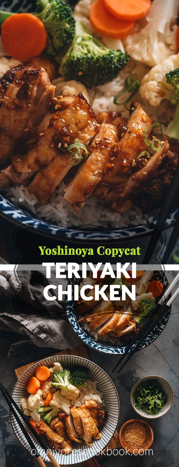 Teriyaki Chicken (Yoshinoya Copycat) - Juicy tender chicken thighs with crispy skin, served with an aromatic and rich teriyaki sauce that is not too sweet. This recipe mimics the Teriyaki chicken bowl served in Yoshinoya's overseas restaurants with a Chinese twist. {Gluten-free adaptable}