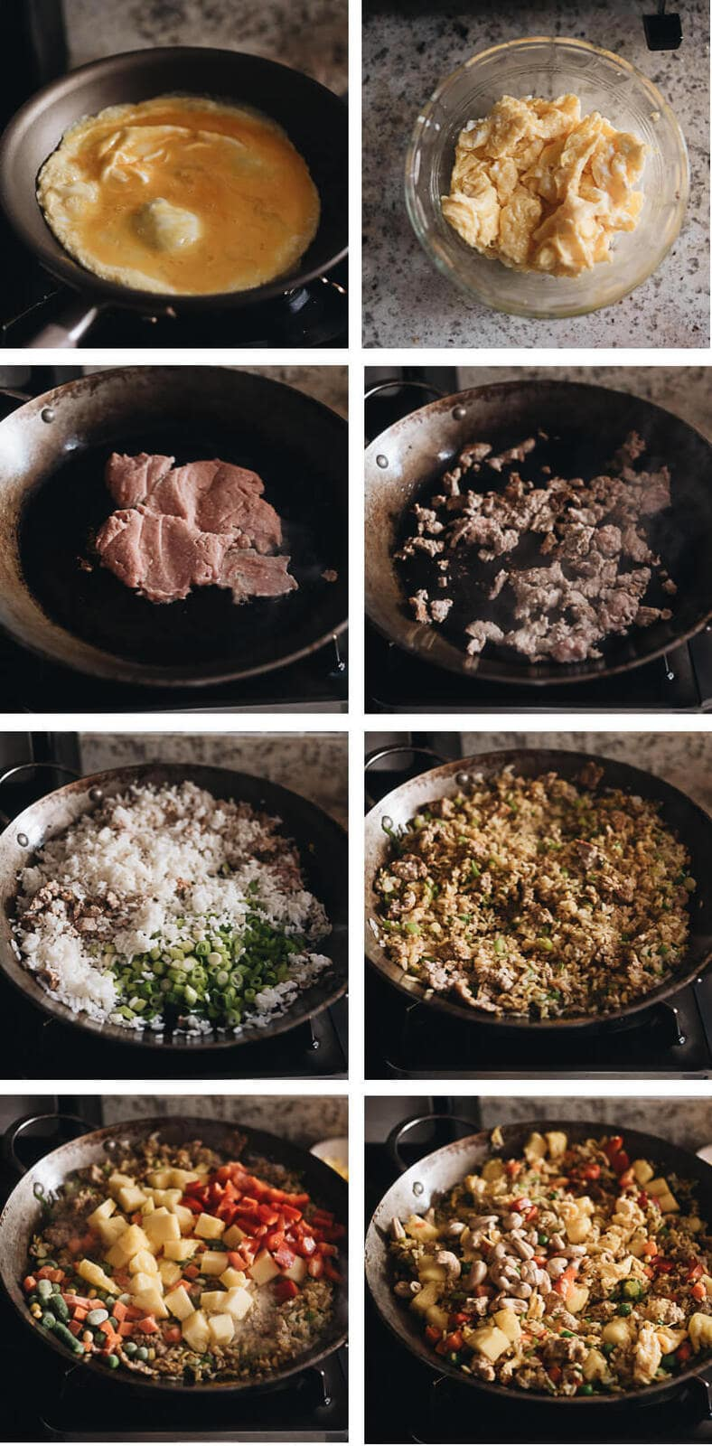 Pineapple fried rice cooking step by step