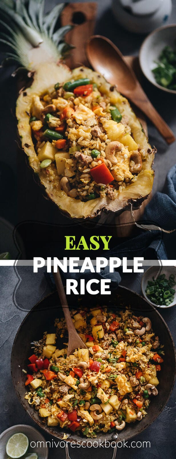 Easy Pianeapple Fried Rice - This super easy pineapple fried rice uses simple ingredients to create the maximum flavor. Learn all the secrets of making perfect fried rice that tastes even better than the restaurant version, and the one secret ingredient to make the best pineapple fried rice. {Gluten-Free adaptable}