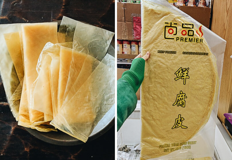 Very thin bean curd sheets, packaged and sliced