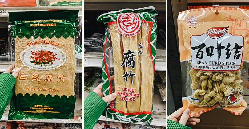 Three types of dried bean curd sheets