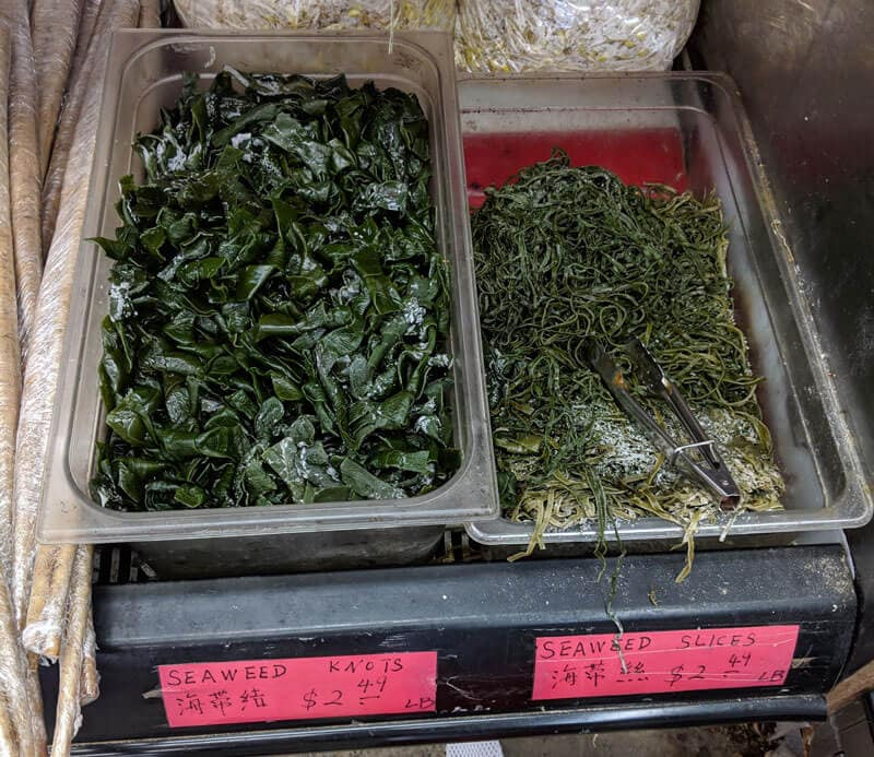 Fresh seaweed (kombu) in Asian market