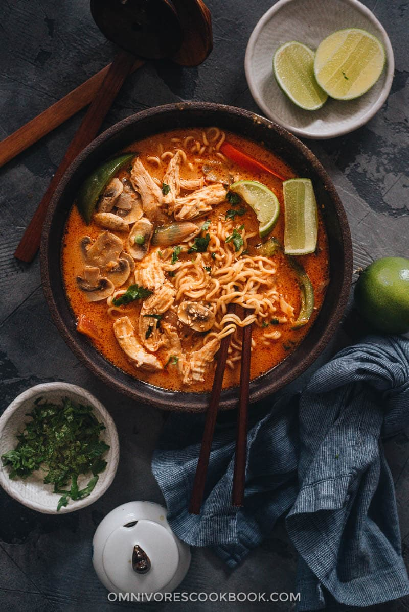 Thai peanut butter ramen in a bowl