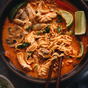 Thai peanut butter ramen in a bowl close up