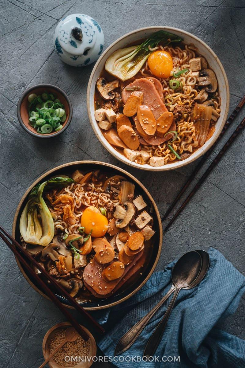Budae Jjigae served in bowls