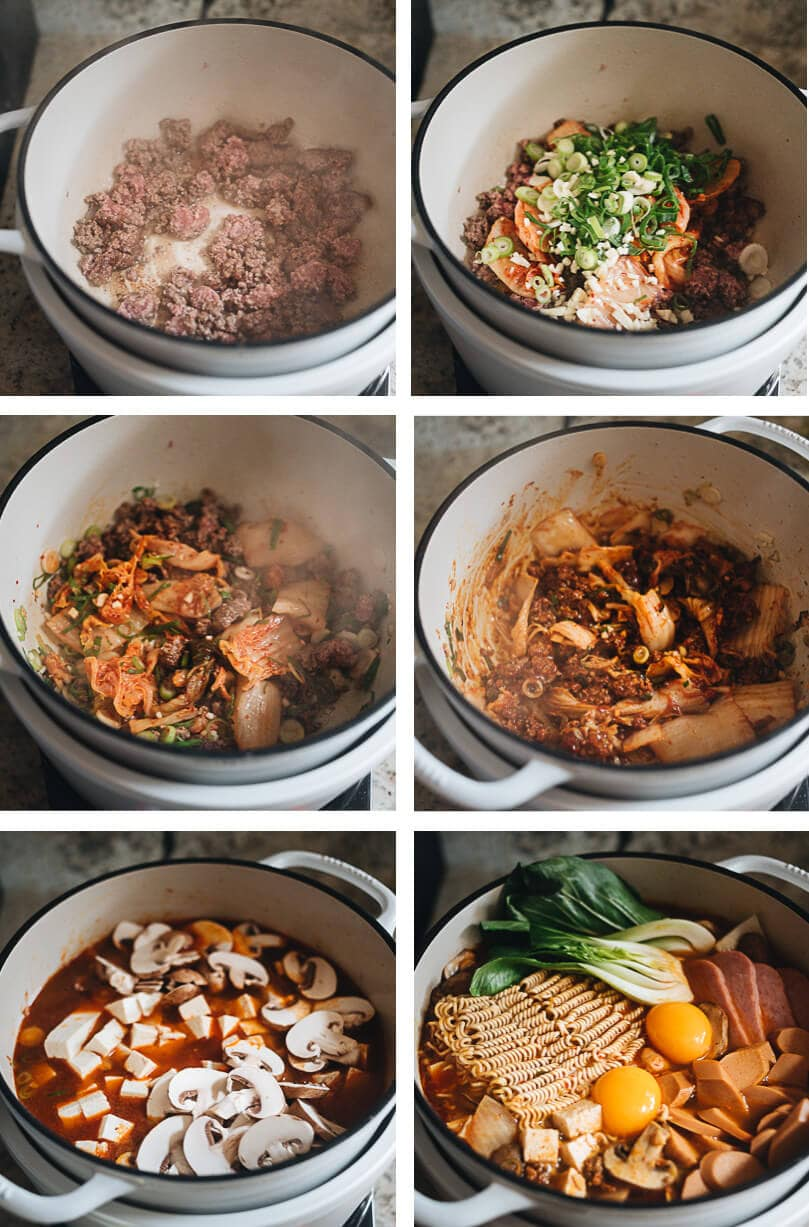Budae Jjigae cooking step-by-step