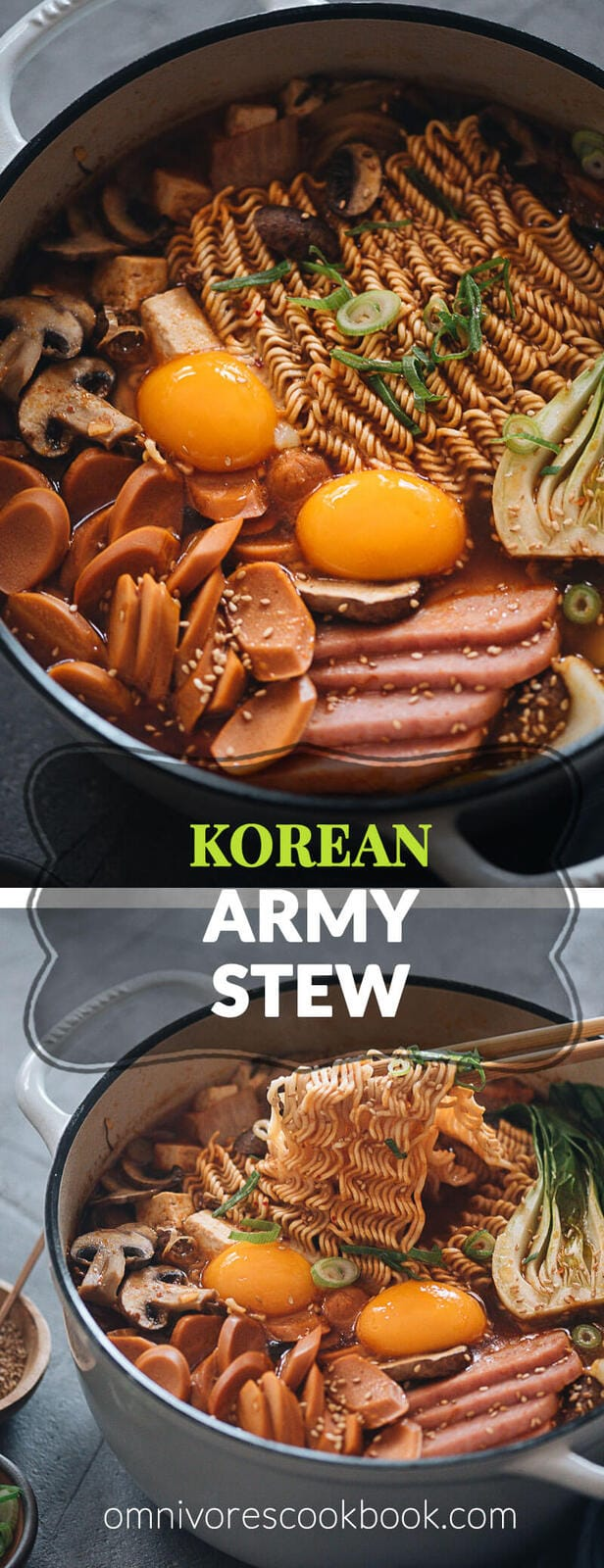 Korean Army Stew (Budae Jjigae) - Rich spicy broth made with aromatics, ground meat, and noodles, topped with sausage, veggies and runny egg yolks. An easy one-pot meal that requires very little prep and is fast to make.